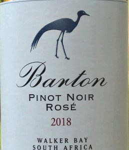 Barton Estate Pinot Noir Rose 2018; lovely light salmon, blush rose; 100% Pinot Noir, attractive dry, but not bone dry, fruity rose. Smooth and elegant with cherry and strawberry flavours. Stunning aperitif.