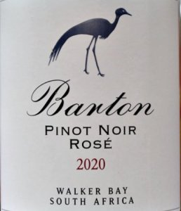 Barton Estate Pinot Noir Rose 2020; lovely light salmon, blush rose; 100% Pinot Noir, attractive dry, but not bone dry, fruity rose. Smooth and elegant with cherry and strawberry flavours. Stunning aperitif.