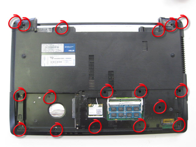 Remove all screws on the underneath of the laptop.