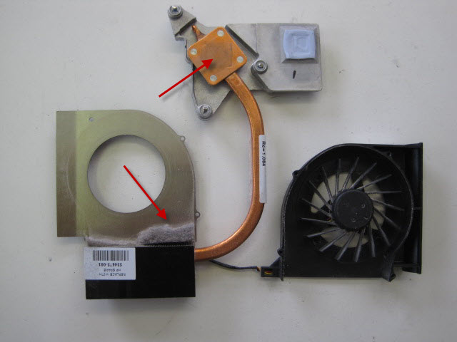 Clean the copper heat sink using a citrus based solvent.