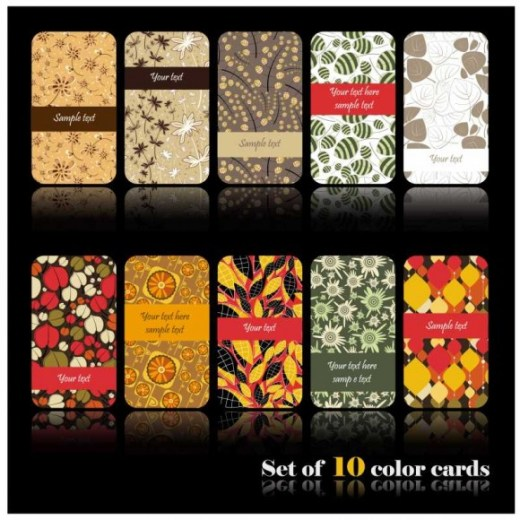 Set-of-color-Floral-cards-vector-01-580x580