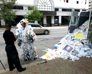 An anti-plastic bag activist in Austin, Texas
