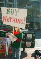 """A """"Buy Nothing Day"""" activist leaflets in San Francisco."""