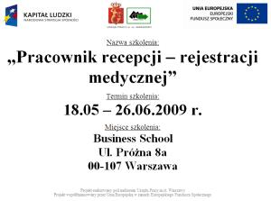 EDCL Pracownik recepcji rejestracji medycznej