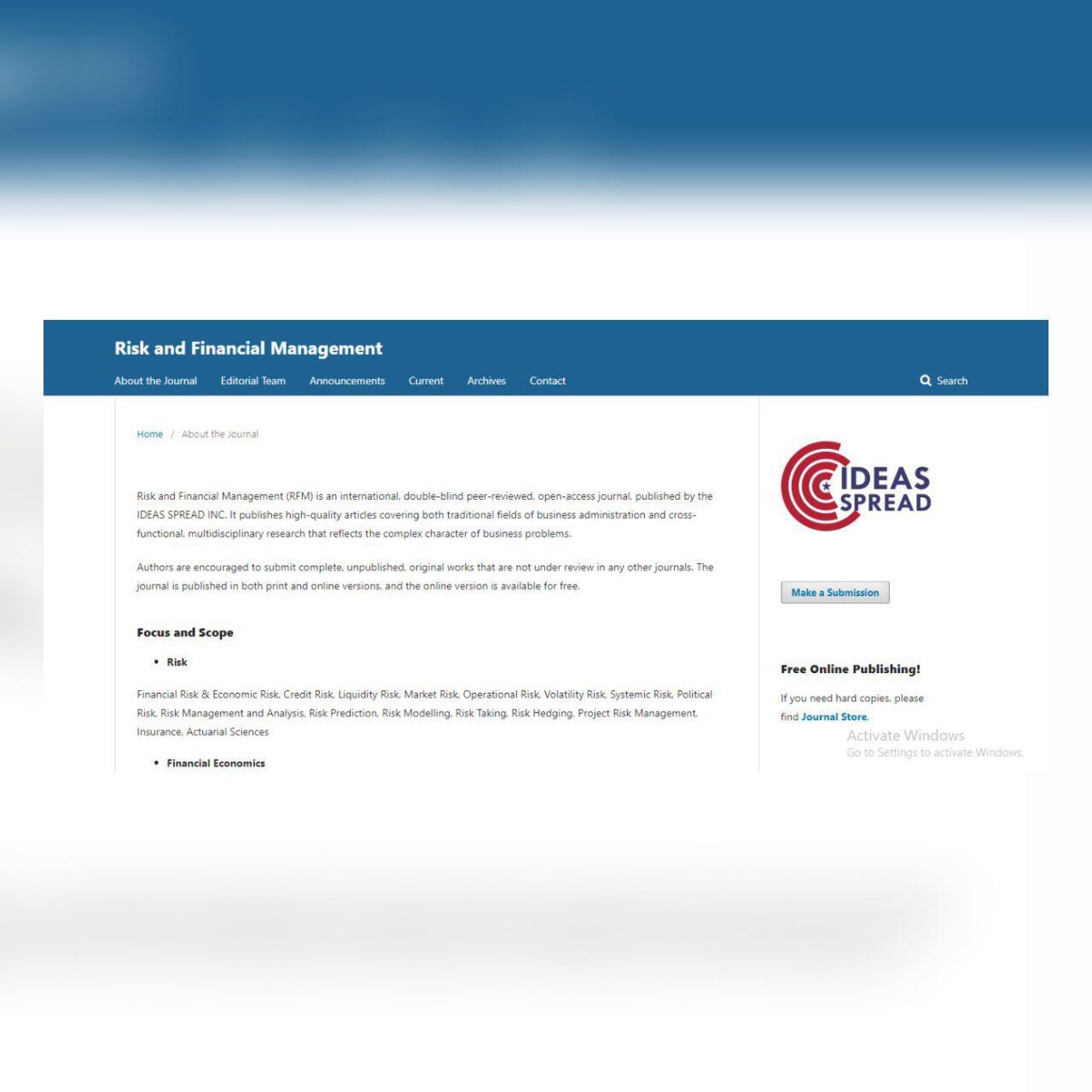 مجلة دولية متخصصة في الادارة المالية والمخاطر تختار تدريسي في جامعة كربلاء مقيماً علمياً لابحاثها