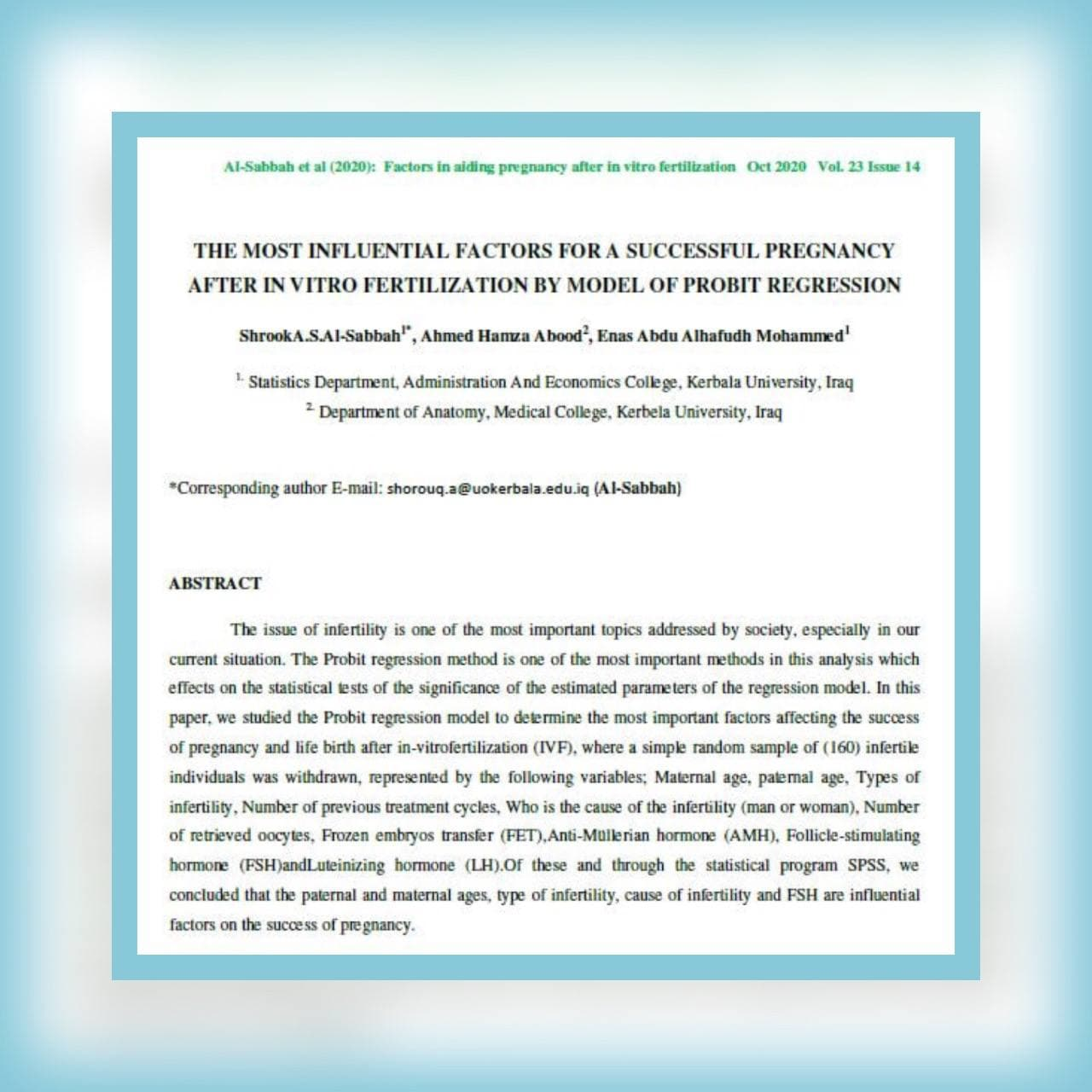 Read more about the article باحثون من جامعة كربلاء ينشرون بحثاُ في مجلة عالمية ضمن مستوعب scopus