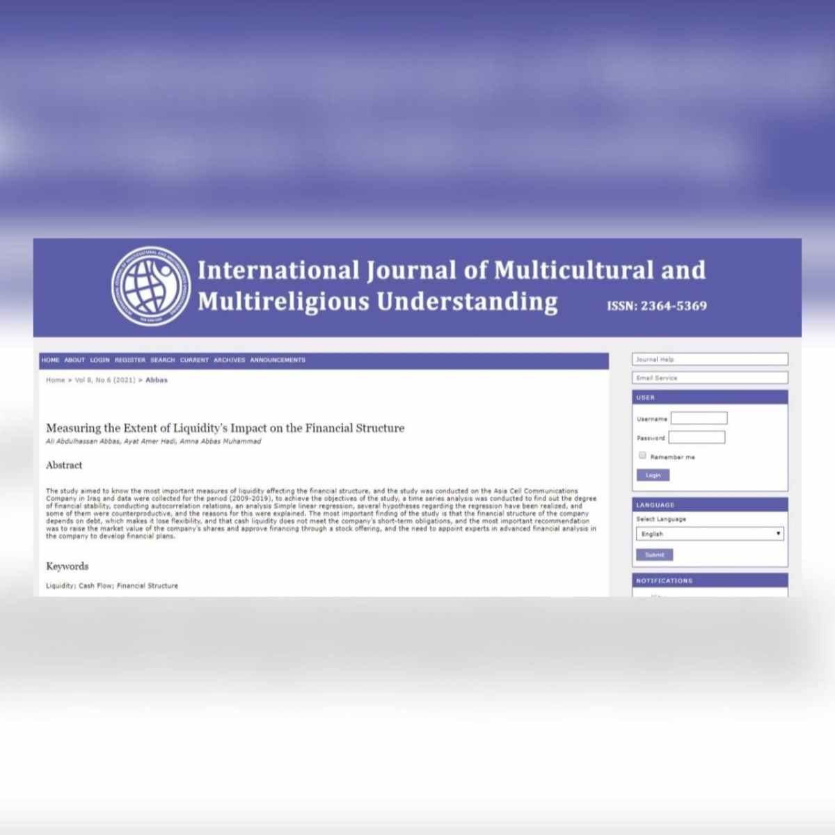 فريق بحثي من جامعة كربلاء ينشر بحثاً علمياً ضمن مستوعب Scopus حول قياس مدى تأثير السيولة في الهيكل المالي