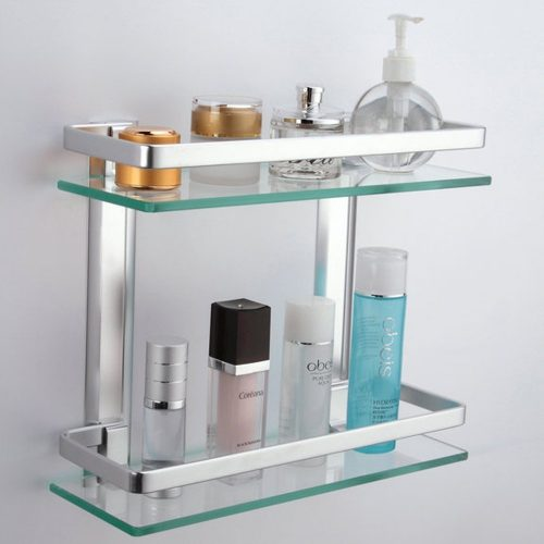 The KES 2-Tier Glass Bathroom Shelve- bathroom shelves