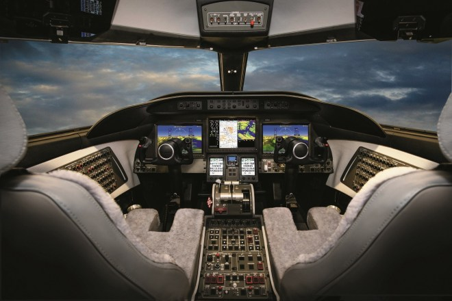 The flight deck inside the Learjet 75's cockpit.