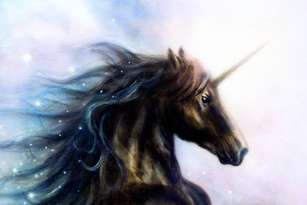 Drawing of a dark-colored unicorn