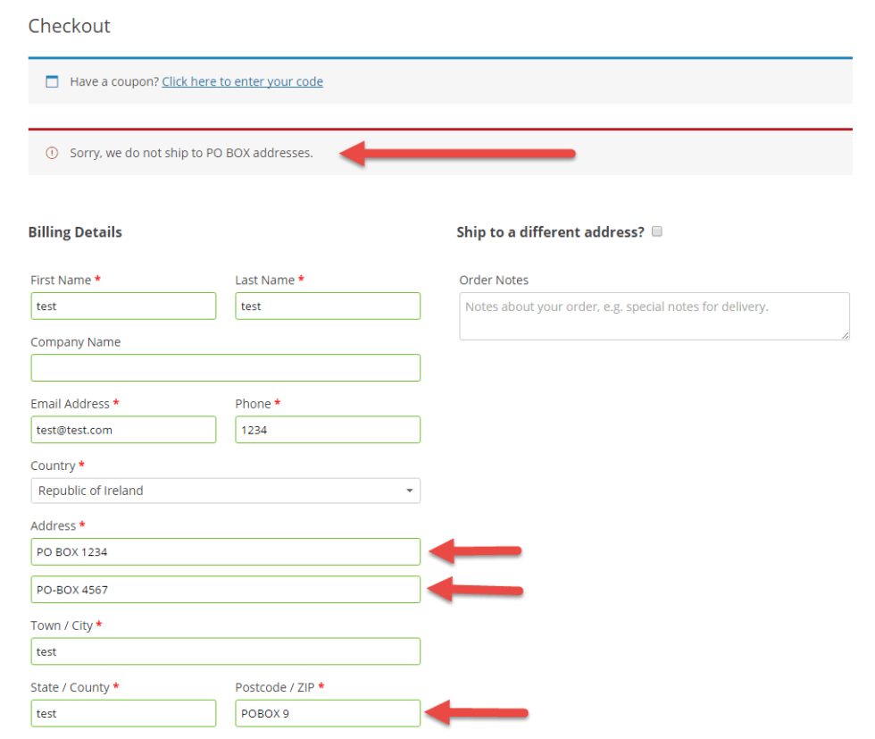 WooCommerce: Disallow PO BOX Shipping and Display Error