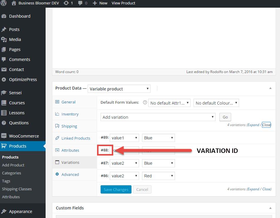 WooCommerce: find Variation ID