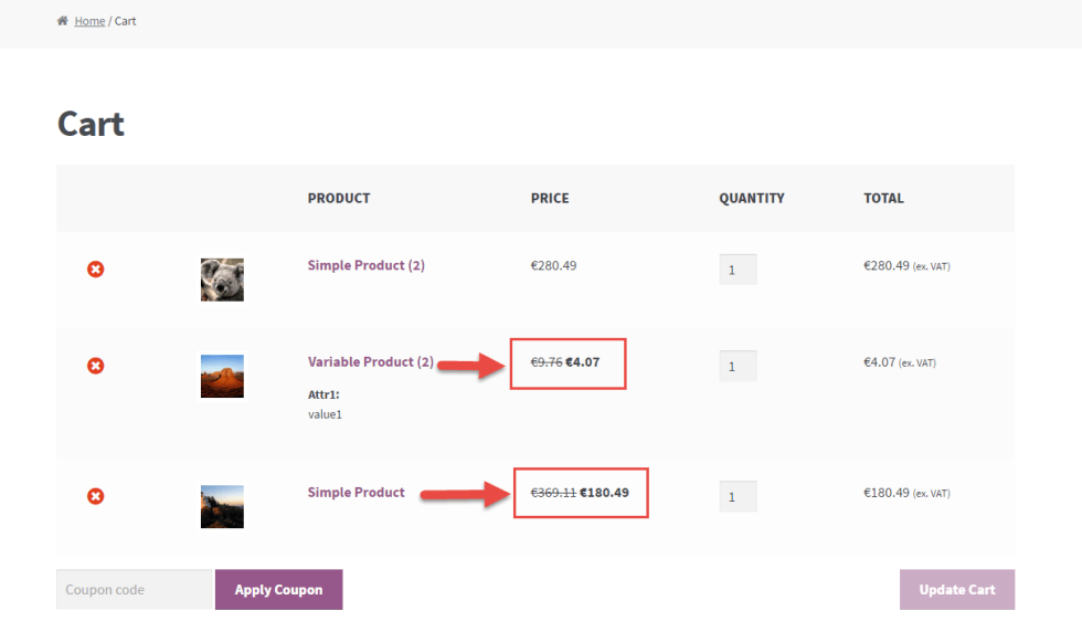 WooCommerce: show sale prices @ Cart Table
