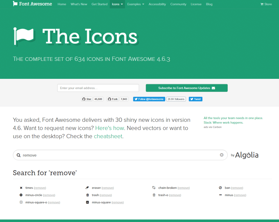 """Looking for other """"REMOVE"""" icons on the FontAwesome website"""