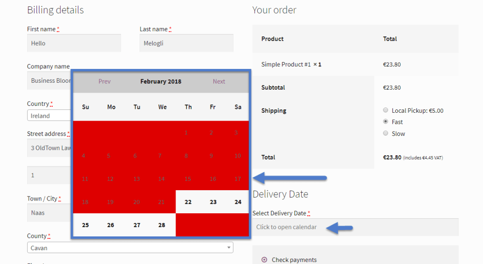 WooCommerce: Display Order Delivery Date @ Checkout