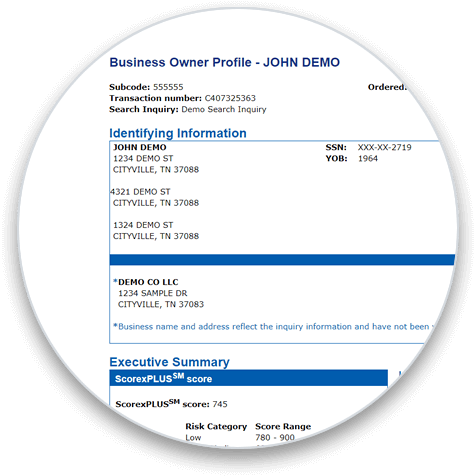 Experian Business Owner Profile circle graphic