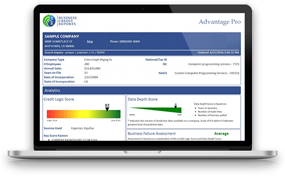 Advantage Pro business credit report shown on a laptop screen graphic