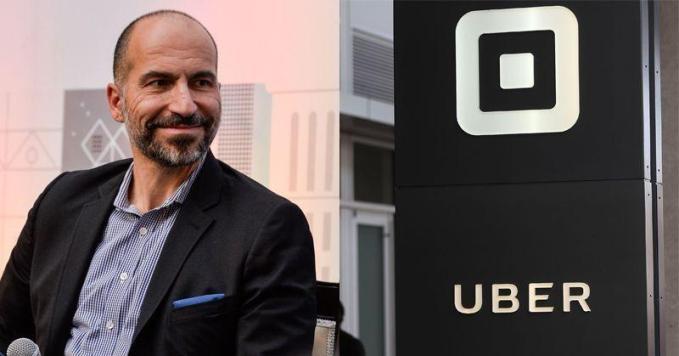 Dara Khosrowshahi next to Uber's logo, he assumed Uber's leadership in 2017 in hopes to transform Uber's reputation