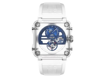 sg face br x1 tourbillon skeleton saphir blue - Bell & Ross creates a transparent vortex