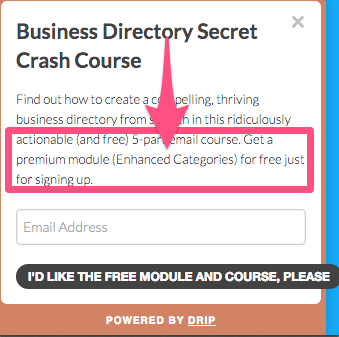 Email course signup on all pages of businessdirectoryplugin.com