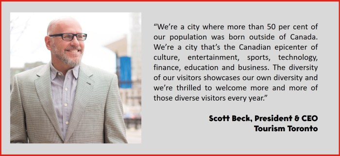 """We're a city where more than 50 per cent of our population was born outside of Canada. We're a city that's the Canadian epicenter of culture, entertainment, sports, technology, finance, education and business. The diversity of our visitors showcases our own diversity and we're thrilled to welcome more and more of those diverse visitors every year."" Scott Beck, President & CEO Tourism Toronto"