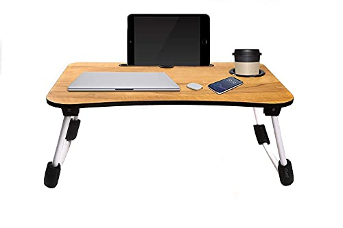 AMR_ENTERPRISE Laptop Desk, Laptop Bed Tray, Foldable Laptop Stand, Small Dormitory Table, Breakfast Serving Bed Tray, Dorm Desk, Notebook Table with Tablet Slots (wooden)
