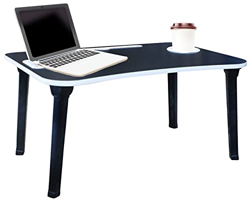 Shree khodiyar creation Smart Multi-Purpose Laptop Table with Dock Stand/Study Table/Bed Table/Foldable and Portable Table with Plastic Leg and with Handle (Black)