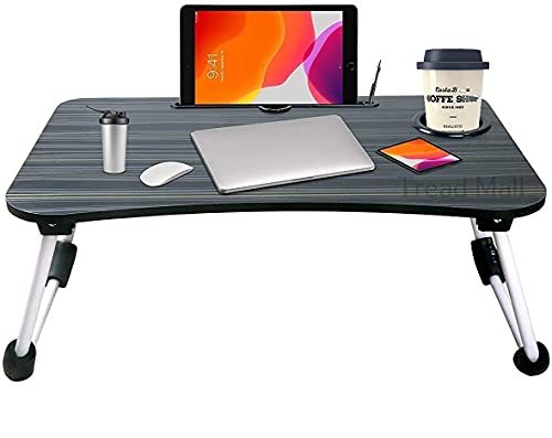 Tread Mall Foldable Laptop Lap Desk, Portable Computer Bed Table Tray with Phone Stand and Cup Holder for Sofa Couch Breakfast Dining (Black)