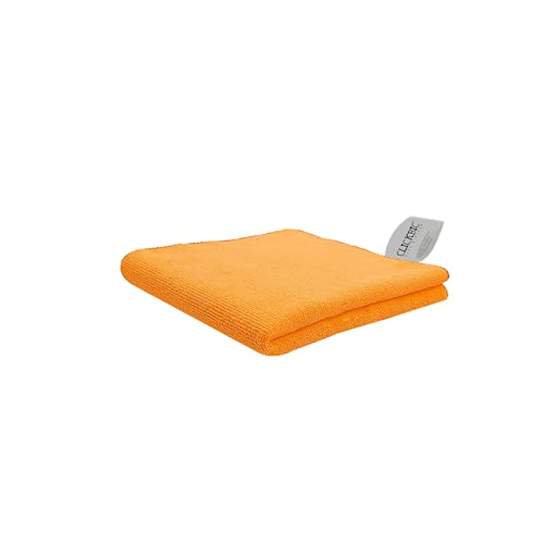 Clickbic Microfiber Cloth for Cleaning Kitchen, Furniture & Home Appliances | 40x60 cm 280 GSM Orange 1 pc | Ultra Soft & Durable, Quick Dry & Super Absorbent