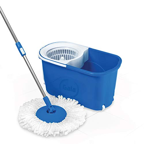 Gala Quick Spin Mop,Easy Wheels & Big Bucket with 2 Microfiber Refills, Floor Cleaning Mop with Bucket, pocha for floor cleaning, Mopping Set(white and blue)