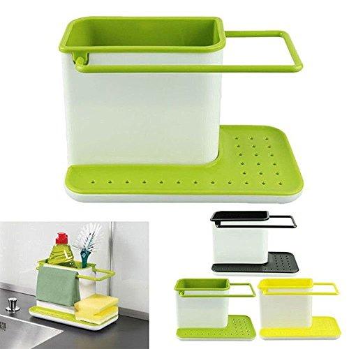 Inditradition 3 in 1 Kitchen Sink Organizer (for Dishwasher Liquid, Brush, Cloth, Soap, Sponge), Plastic