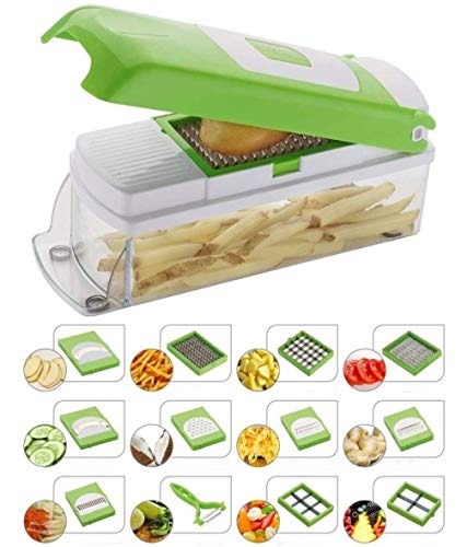 NOVEL Plastic Vegetable and Fruit Chipser With 11 Blades and 1 Peeler, Green