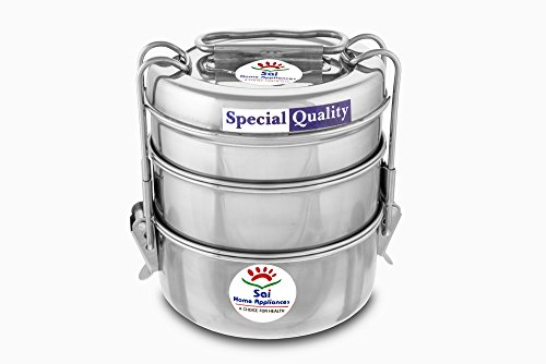 Sai Home Appliances Sai Stainless Steel Clipper Stainless Steel Tiffin Box Set, 3 Container, Silver-1100 ml 7x3