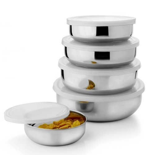 Sai Home Appliances Stainless Steel Air Tight Lid Bowl - Set of 5 Pcs ( Silver )