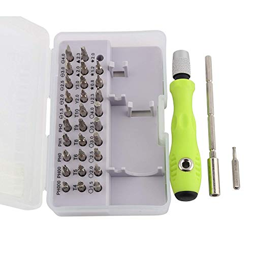 Storin 32 in 1 Mini Screwdriver Bits Set with Magnetic Flexible Extension Rod for Home Appliance,Laptop,Mobile,Computer Repairing Preparations