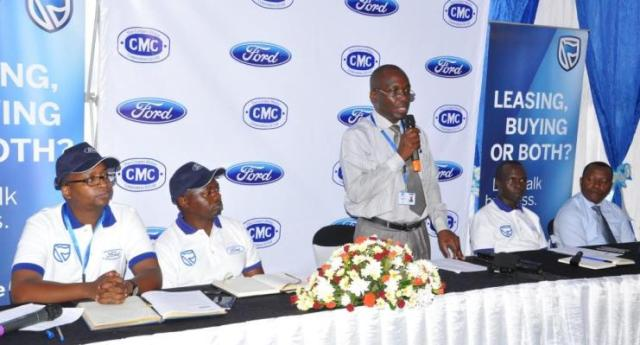 Herman Mbalasi Country Manager Cooper Motor Corporation Uganda making his remarks during the press briefing to unveil the all-new Ford Everest at the CMC ...