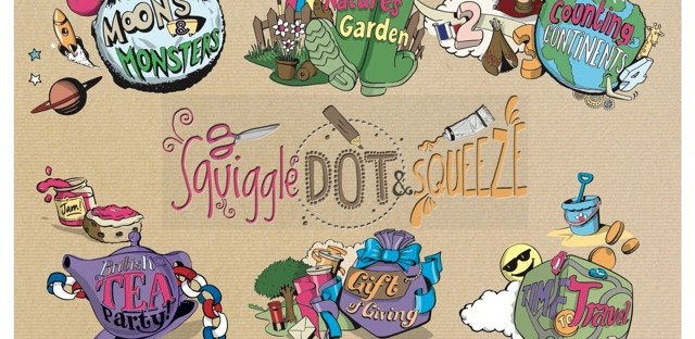 Squiggle dot and squeeze logo