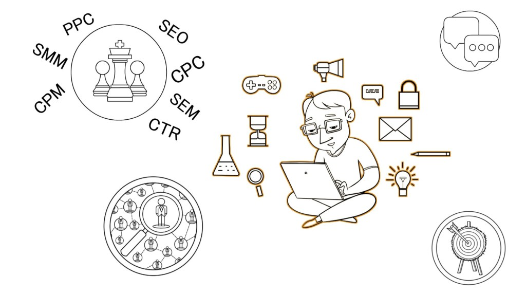 Illustration of someone considering marketing strategy