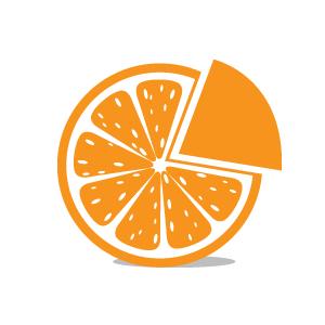 Orange slice with pie piece