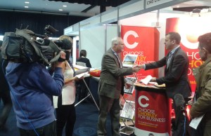 Councillor Alistair Bradley being interviewed at last year's UK Northern Powerhouse International Conference and Exhibition.