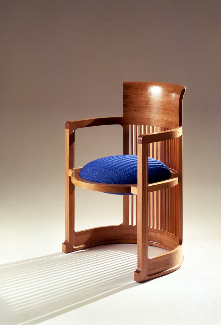 Barrel Taliesin arm chair version, designed by Franck Lloyd Wright, Cassina Collection