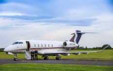 Basel art installation. NetJet commissioned photographs of the first Challenger C350 jet at Biggin Hill airfield, Kent. 27th May 2015.