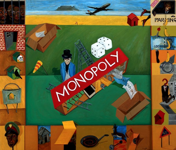 Image: Richard Mudariki Monopoly, acrylic on canvas, 120 x 140 cm, 2018