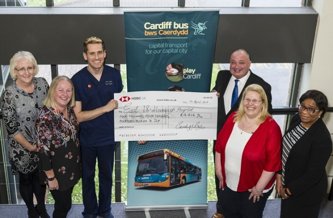 Cardiff Bus Donates Over £4,000 to Llandough Hospital