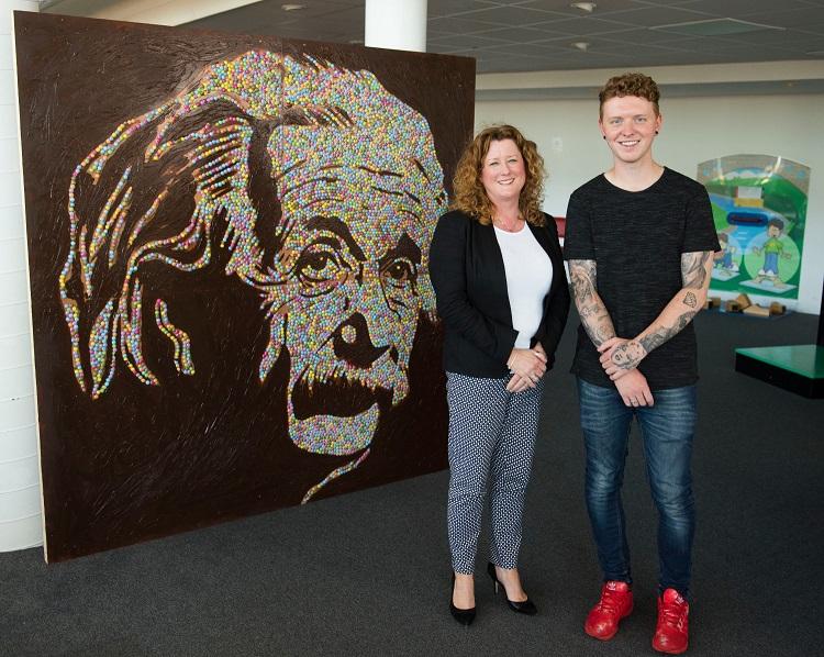 Lesley Kirkpatrick and Nathan Wyburn with Smarties Einstein portrain - Copy