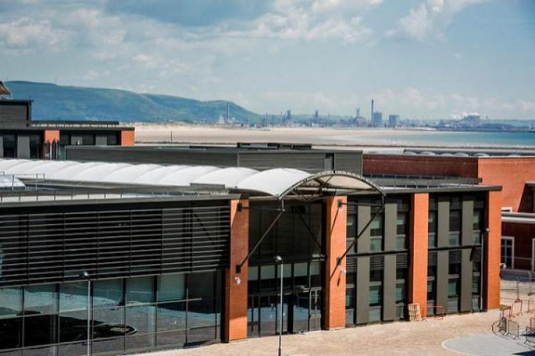 #21CSteel - The Bay Campus Engineering Quarter, with Port Talbot steelworks across the Bay