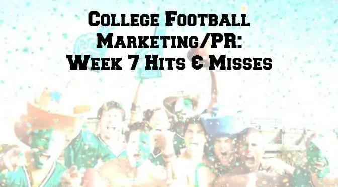 College Football Marketing - Week 7