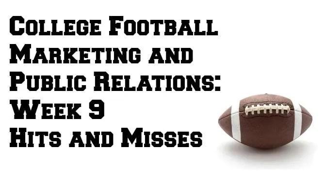 College Football Marketing Week 9