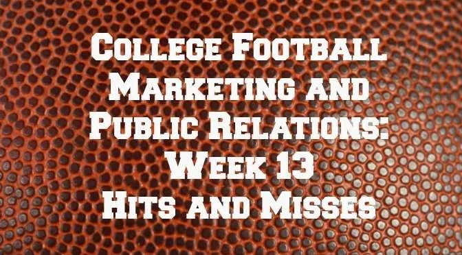 College Football Marketing - Week 13