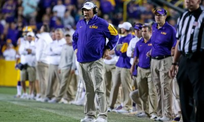 Les Miles on the sideline at LSU